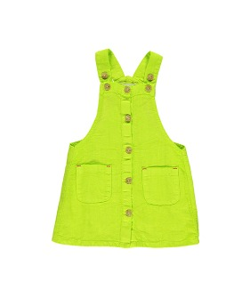Dungaree Dress - Lime Linen