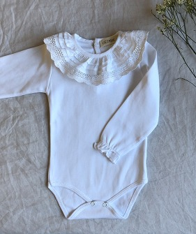 Baby Bodysuit with Lace Collar - White