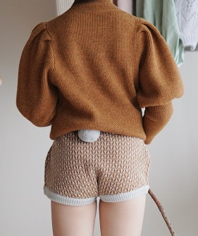 Shorts With Pompom - Brown ★ONLY L★