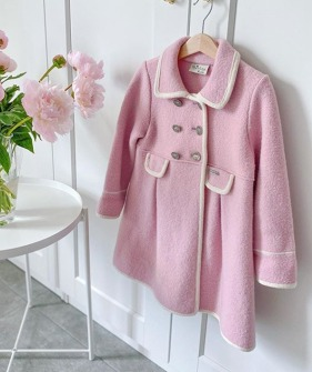 Double Breast Wool Coat- #3117 Rosa/White