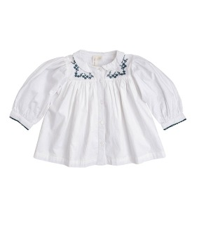 Ella Blouse - Off White Cotton With Embroidery