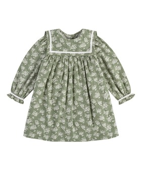 Jemima Sailor Collar Dress - Green Hydrangea Floral