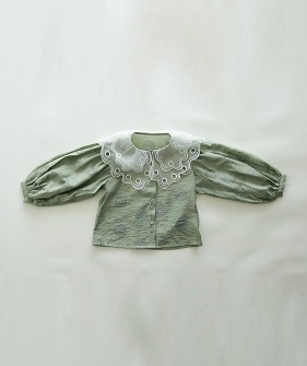 Lace Collar Shirt - Green
