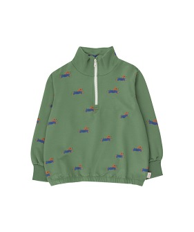 ◆2DROP◆ Doggy Paddle Mockneck Sweatshirt - Green/Iris Blue