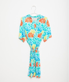 Flowers Tunic Dress - Green #FKS21-011