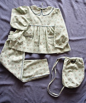 Girl Pyjama Set + Bag -  Mint Flower #S21PYWM