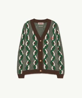 Braids Racoon Kids Cardigan - Brown Logo  (F21082)