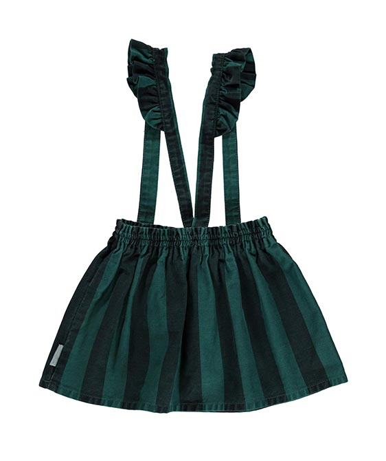 Skirt With Straps - Emerald & Grey Stripes