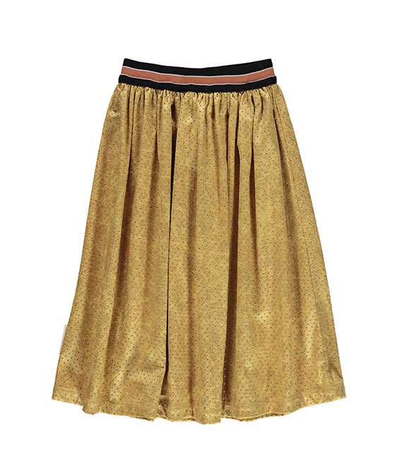 Pleated Long Skirt - Perforated Artificial Mustard Leather
