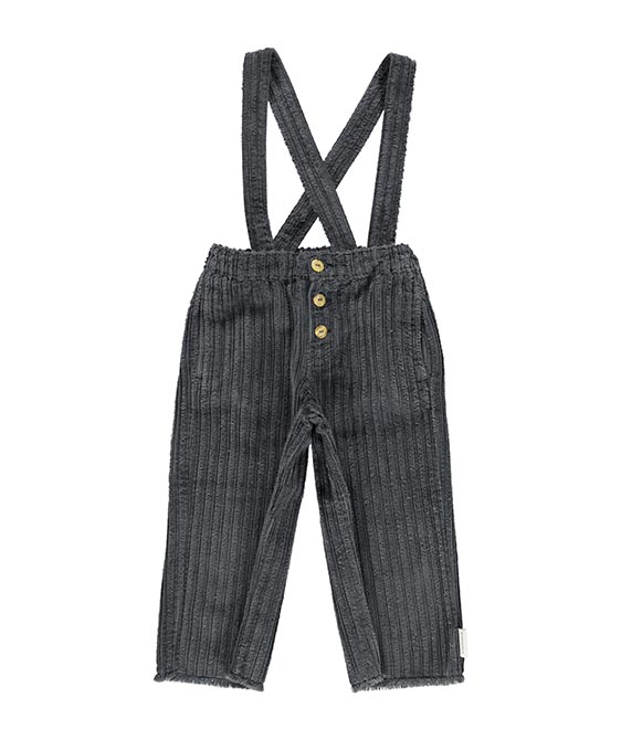 Trousers With Straps - Anthracite Corduroy