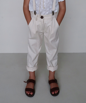 Jean Michel Suspender Pant - Ecru ★ONLY 6Y★
