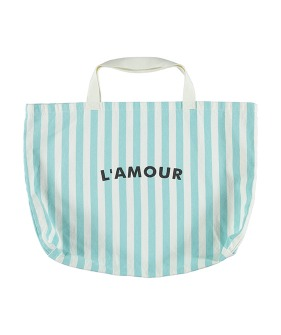 Extra Large Bag - Light Blue Stripes W/ 'L'Amour' Print