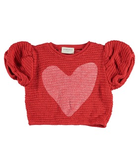 Girl T'Shirt Ballon - Red W/ White Heart . Textured Jersey