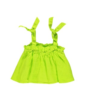 Top With Straps - Lime Linen
