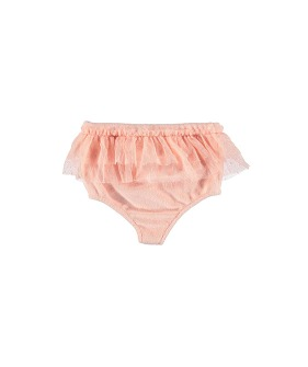 High Waisted Shorties W/ Tulle Frills On Waist - Pale Pink