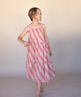 Candy Strip Dress (463) - Pink Stripe ★ONLY 4Y★