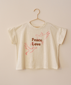 Peace Love Graphic T-Shirt - Ecru