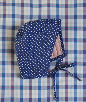 Reversible Baby Cap - Pink/Blue Dot Voile