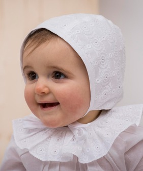 Baby Bonnet - White Embroidery