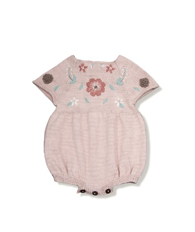 Flora Summer Romper - Dusty Pink With Floral Embroidery ★ONLY 18-24★