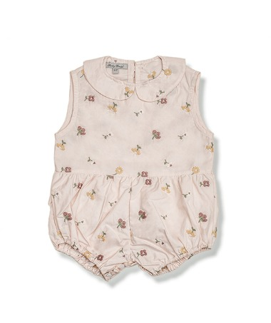 Uniqua Vintage Romper - Dusty Pink With Flower Badge ★ONLY 18-24M★