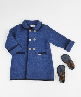 Double Breast Wool Coat - #3167 Blue & Navy ★ONLY 8Y★