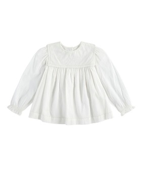 Eadie Sailor Collar Blouse - Off White Cotton