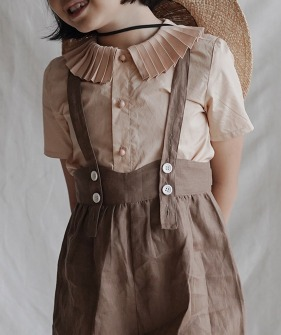Pleated Collar Shirt - Apricot