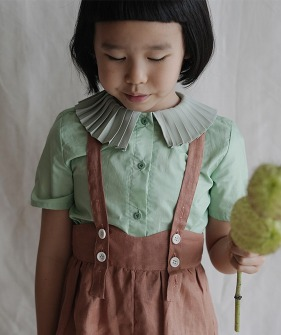 Pleated Collar Shirt - Green