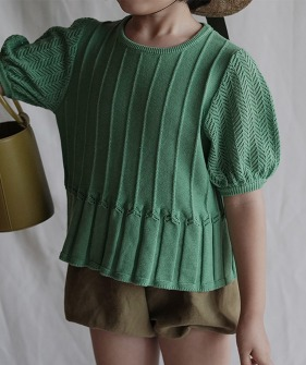 Short Sleeved Knitted T-Shirt - Green