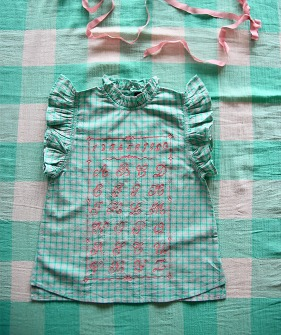 Top with embroidery - Mint Check #S21TPMCK