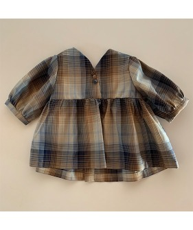 Suzu Blouse - Brown/Blue Check ★ONLY 6-7Y★