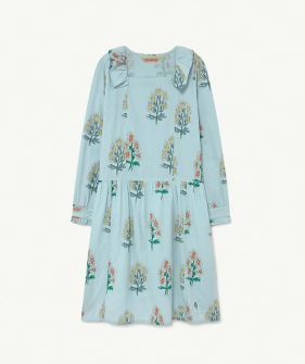 Tortoise Kids Dress - Soft Blue Flowers  (F21130)