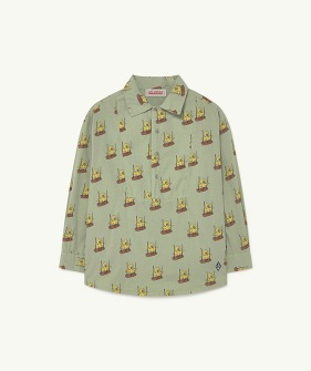 Mandrill Kids Shirt - Soft Green Birds  (F21119)